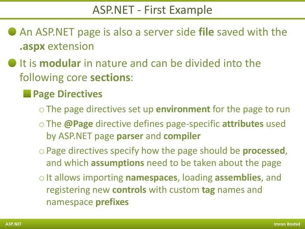 ASP NET Imran Rashid CTO at ManiWeber Technologies  - ppt
