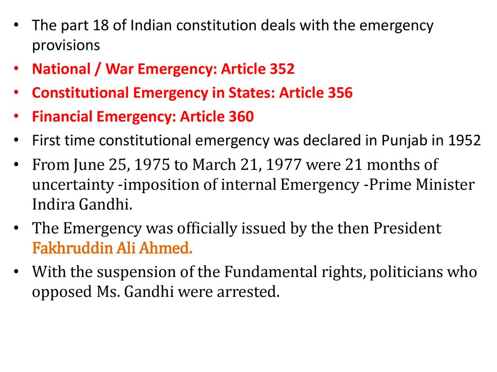 Emergency in India  - ppt download