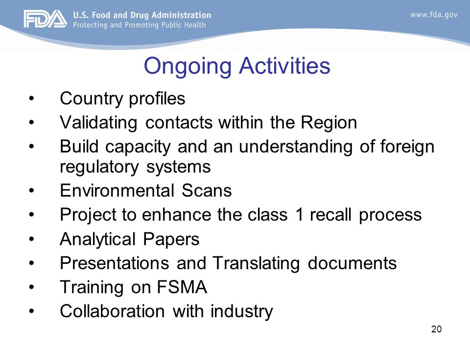 Ongoing Activities Country profiles