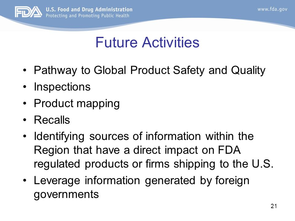 Future Activities Pathway to Global Product Safety and Quality