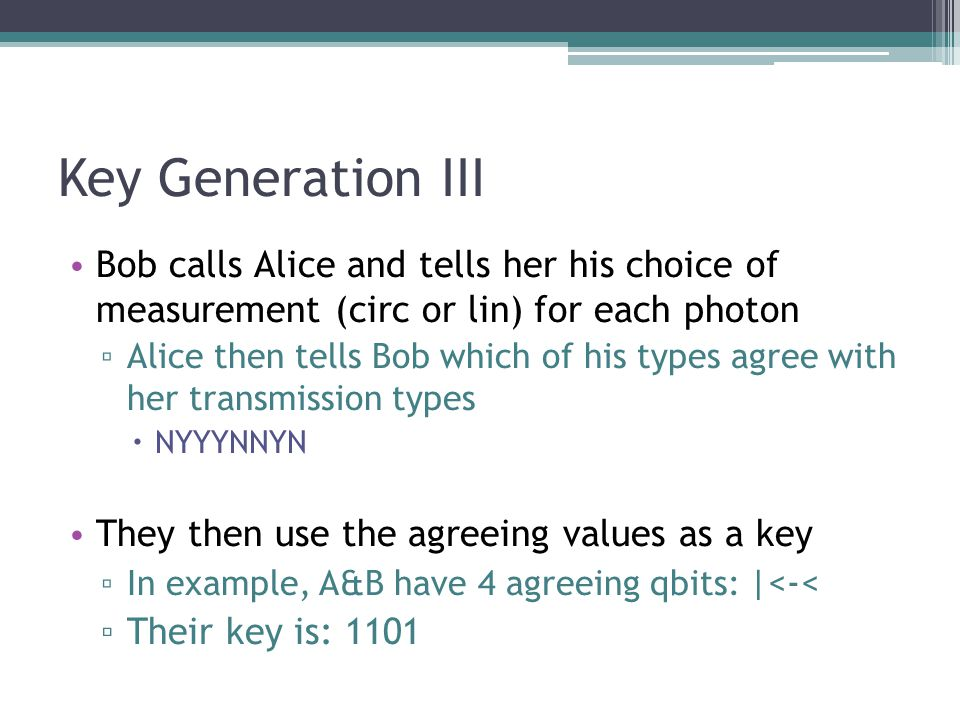 Key Generation III Bob calls Alice and tells her his choice of measurement (circ or lin) for each photon.