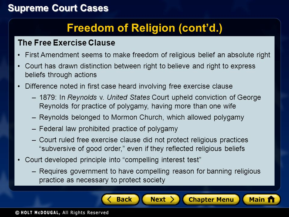 Freedom of Religion (cont'd.)