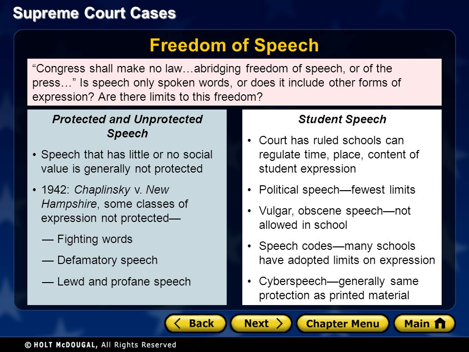 Protected and Unprotected Speech