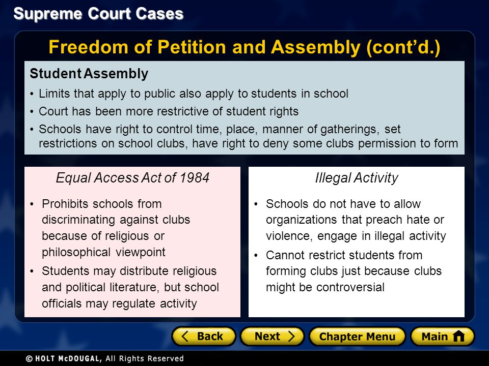 Freedom of Petition and Assembly (cont'd.)