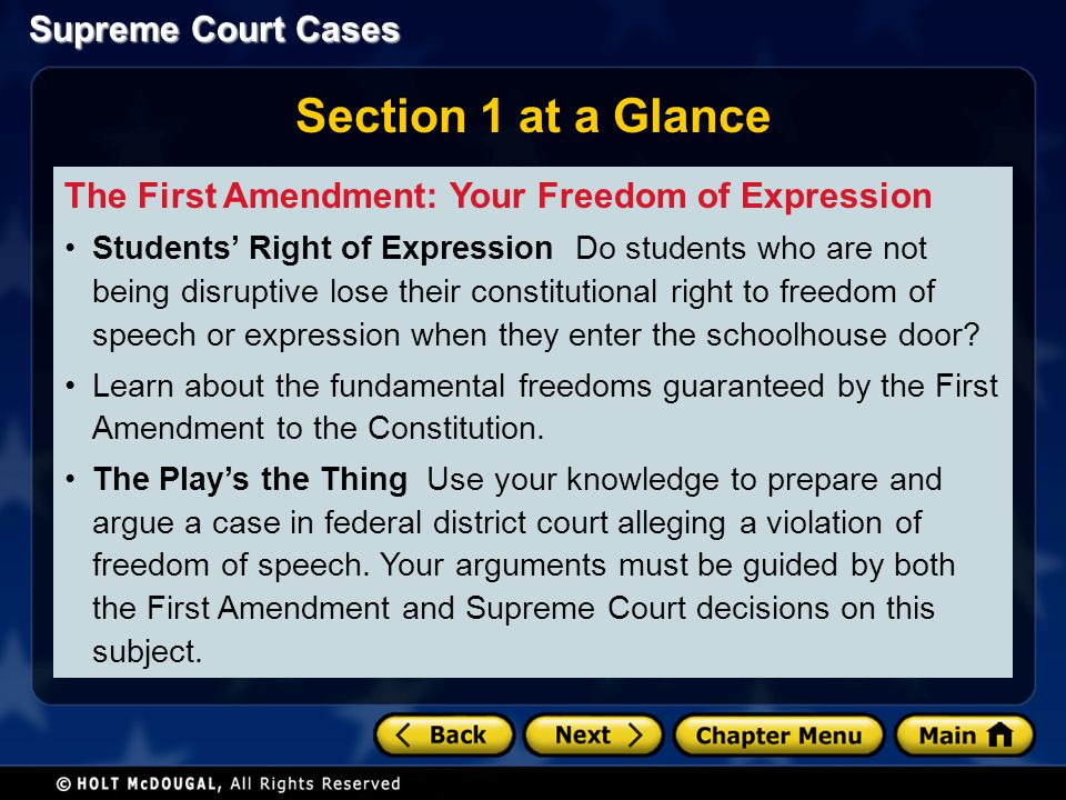 Section 1 at a Glance The First Amendment: Your Freedom of Expression