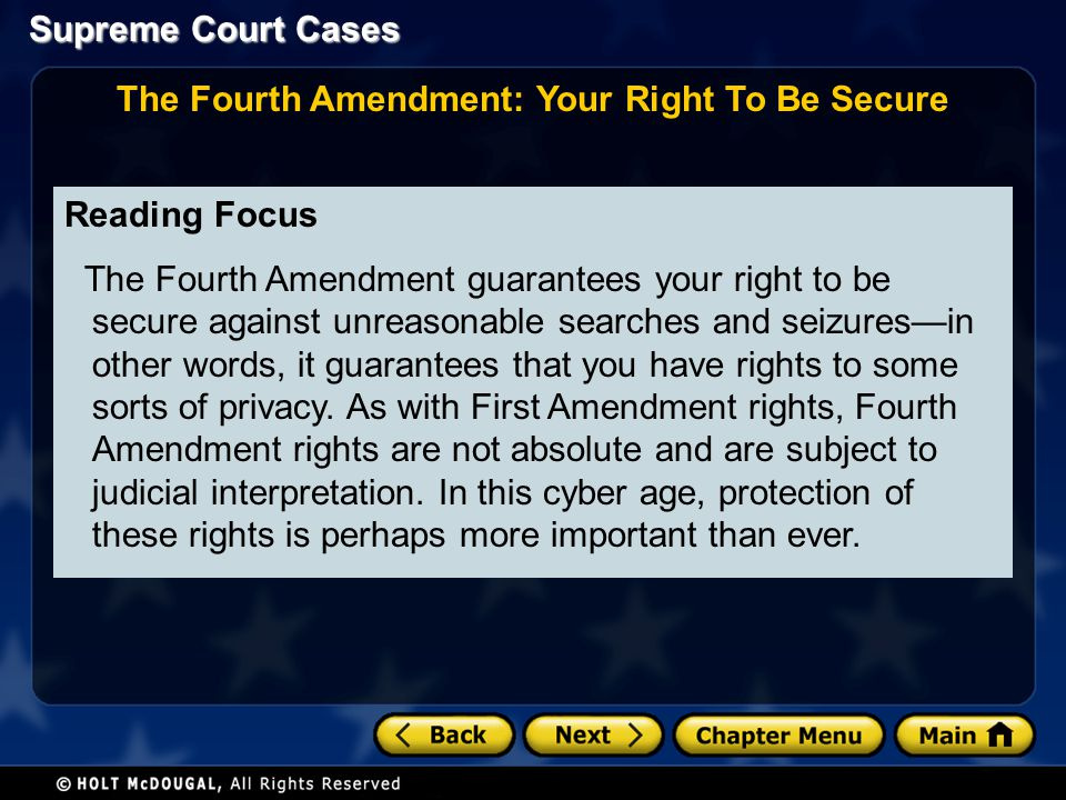 The Fourth Amendment: Your Right To Be Secure