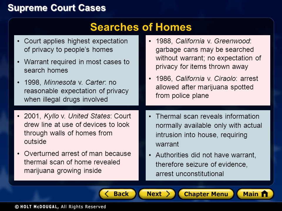 Searches of Homes Court applies highest expectation of privacy to people's homes. Warrant required in most cases to search homes.
