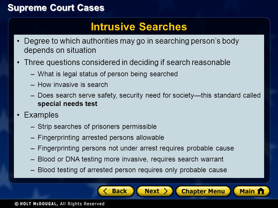 Intrusive Searches Degree to which authorities may go in searching person's body depends on situation.
