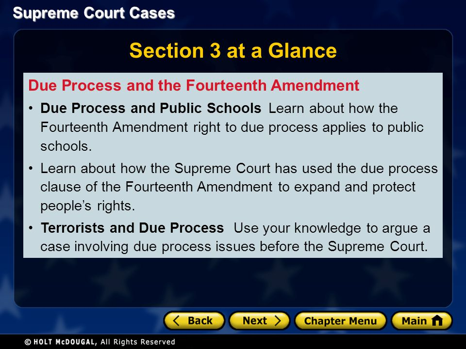 Section 3 at a Glance Due Process and the Fourteenth Amendment