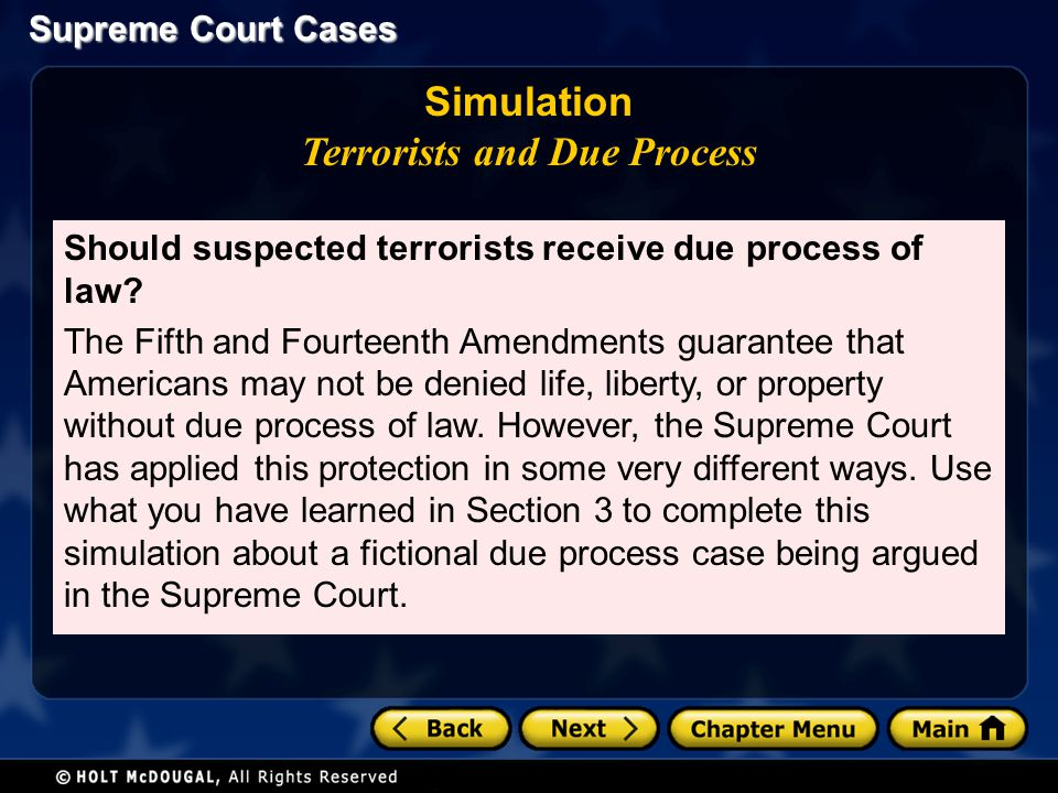 Simulation Terrorists and Due Process