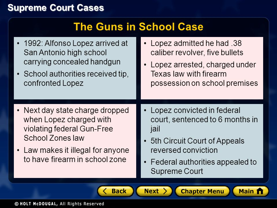 The Guns in School Case 1992: Alfonso Lopez arrived at San Antonio high school carrying concealed handgun.