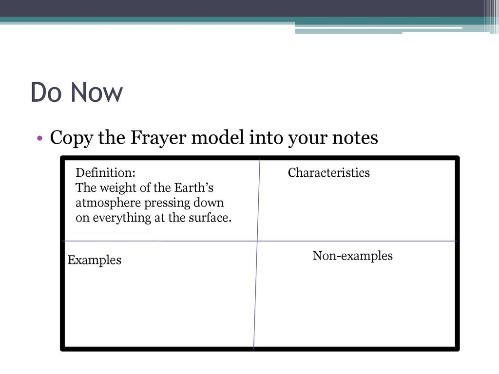 Do Now Copy the Frayer model into your notes Definition