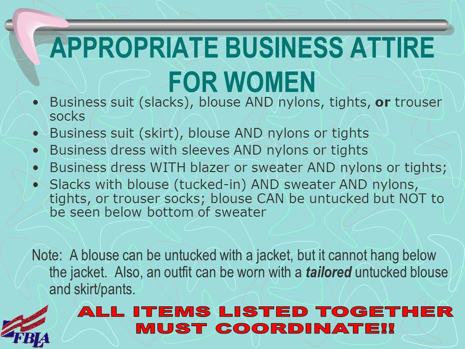 APPROPRIATE BUSINESS ATTIRE FOR WOMEN