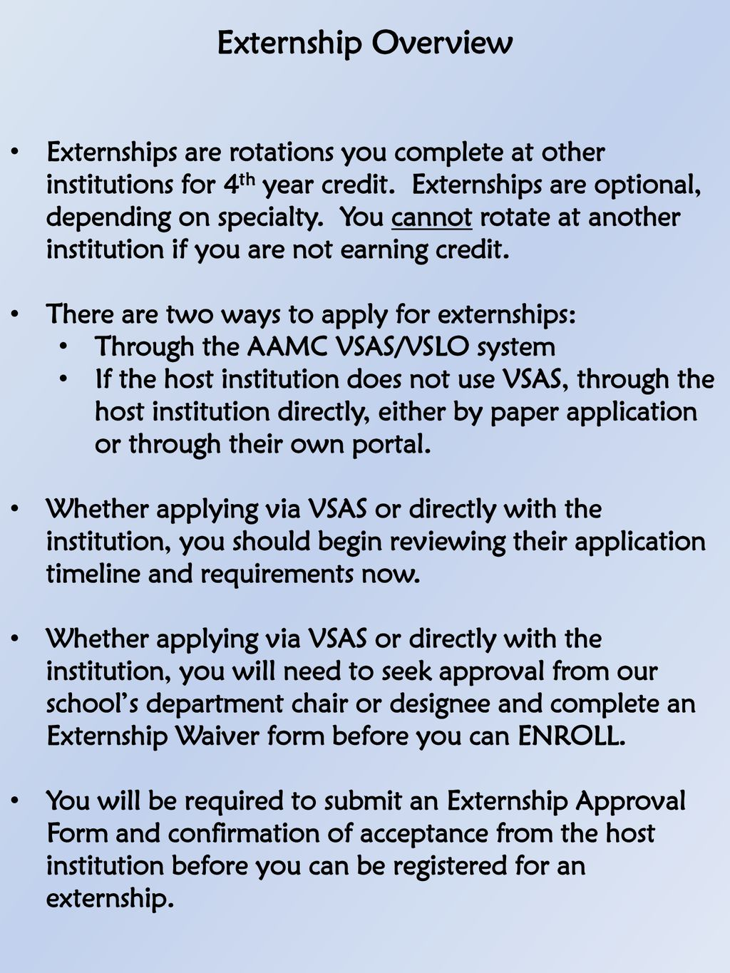 Fourth Year Registration Electives and Externships - ppt