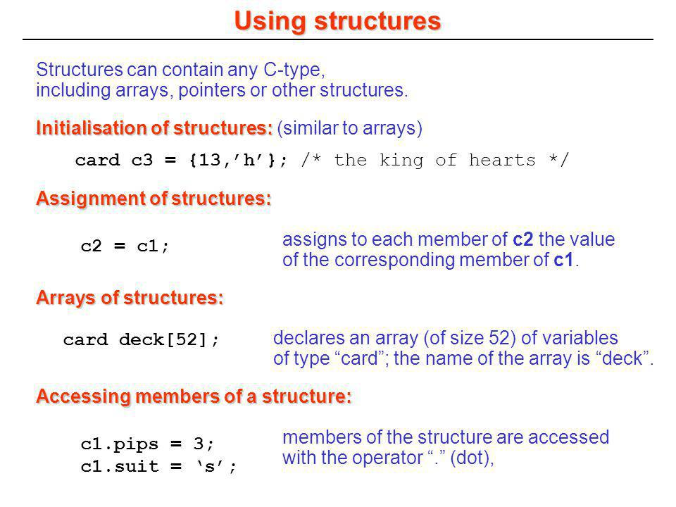Programming in C Chapter 10 Structures and Unions - ppt