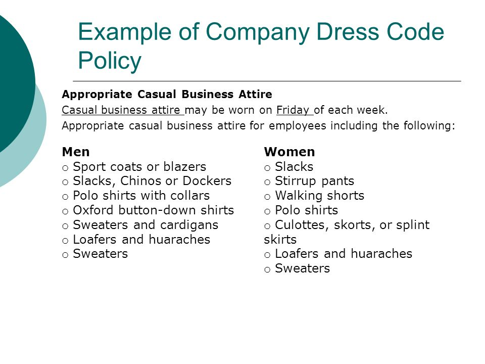 Objectives identify how having a professional appearance can lead to example of company dress code policy maxwellsz