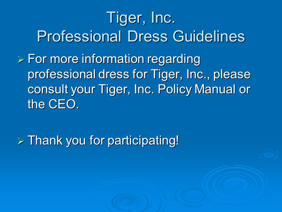 Tiger, Inc. Professional Dress Guidelines