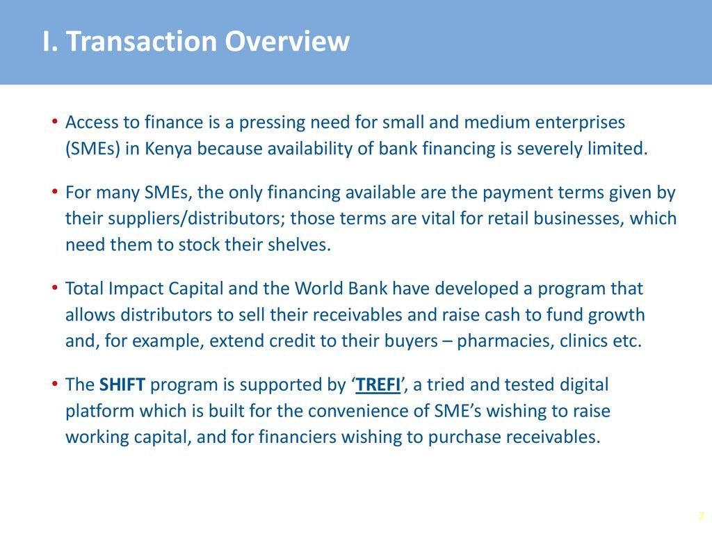 Invoice Financing for Medical  Distributors in Kenya  (SHIFT