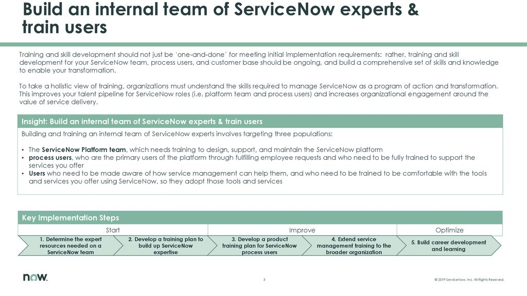 Build an internal team of ServiceNow experts & train users
