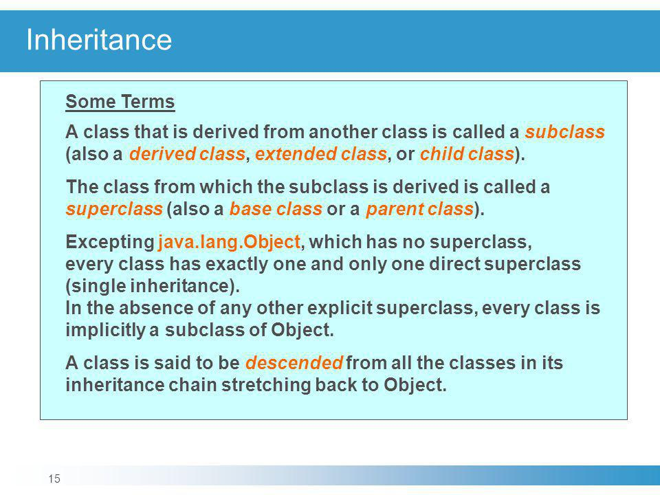 Inheritance Some Terms A class that is derived from another class is called a subclass (also a derived class, extended class, or child class).