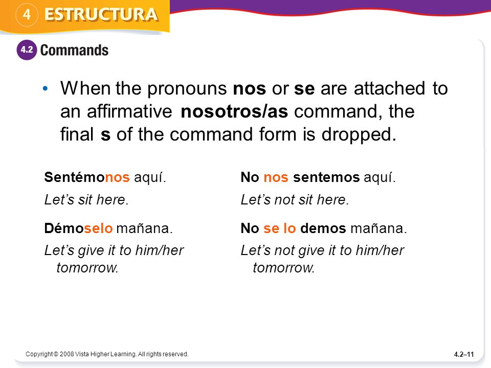 When the pronouns nos or se are attached to an affirmative nosotros/as command, the final s of the command form is dropped.