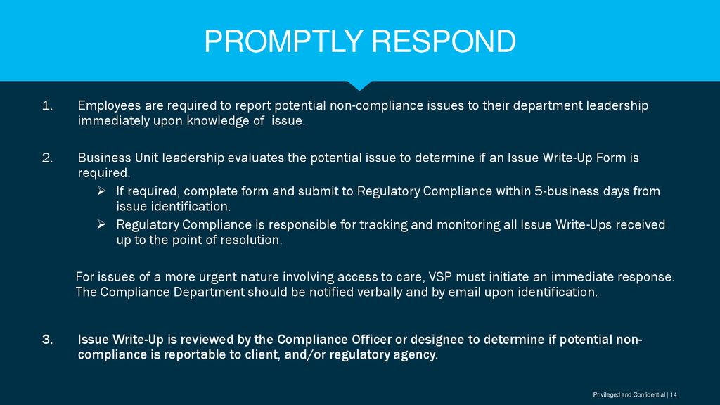Prompt response compliance TRAINING - ppt download