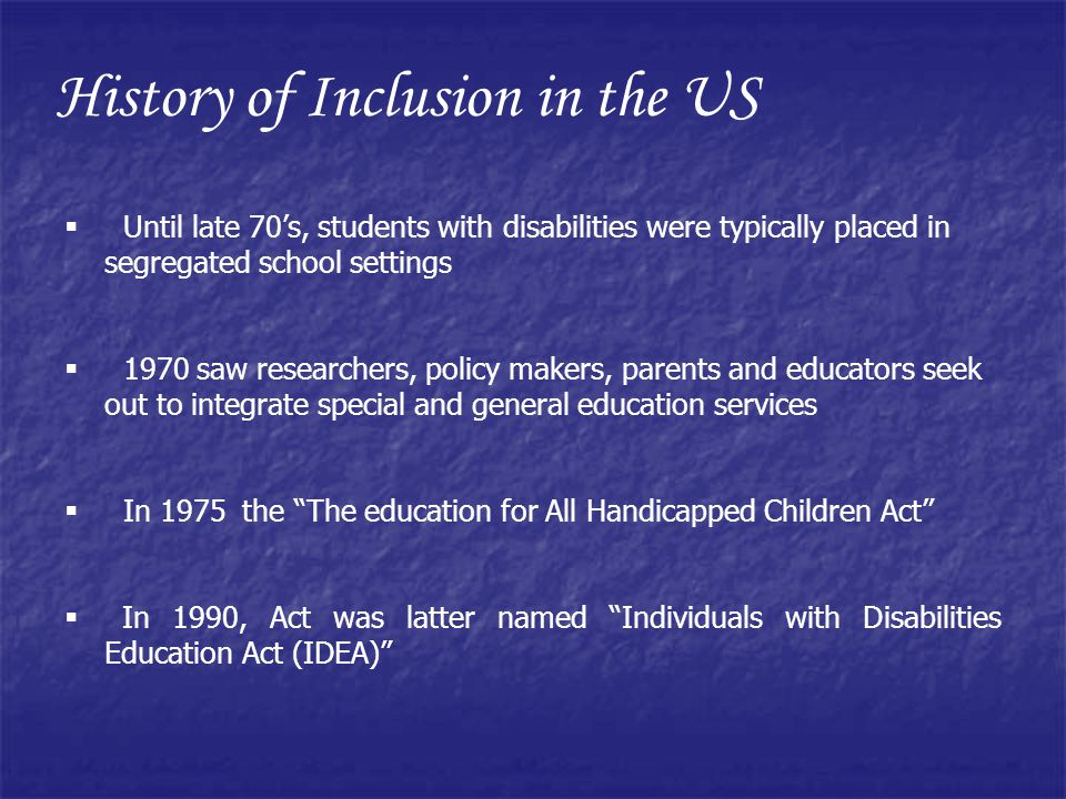 History of Inclusion in the US