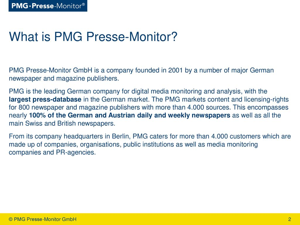 PMG Presse-Monitor GmbH - ppt download