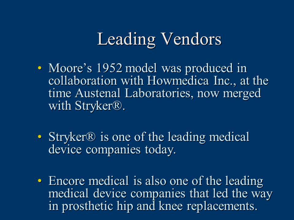 Leading Vendors Moore's 1952 model was produced in collaboration with Howmedica Inc., at the time Austenal Laboratories, now merged with Stryker®.