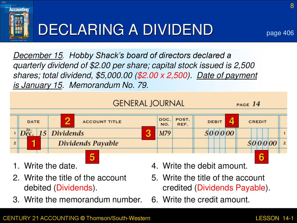 LESSON 14-1 Distributing Corporate Earnings to Stockholders