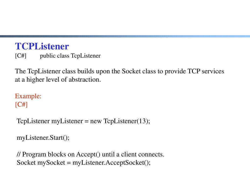 Tcp Listener C