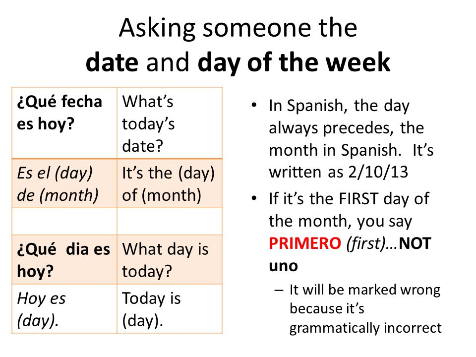 Asking someone the date and day of the week