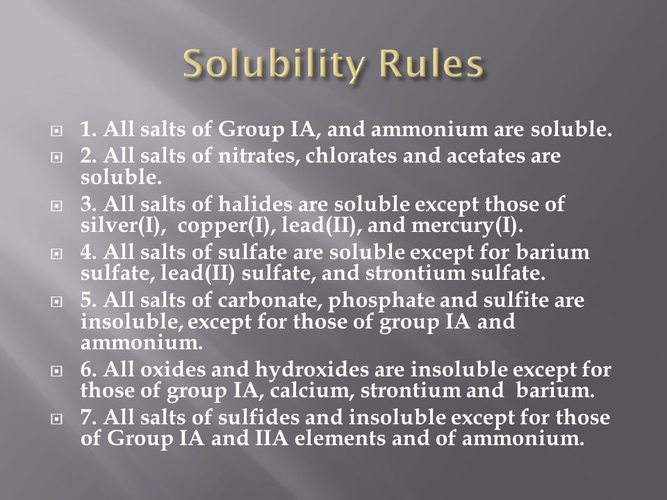 Solubility Rules 1. All salts of Group IA, and ammonium are soluble.