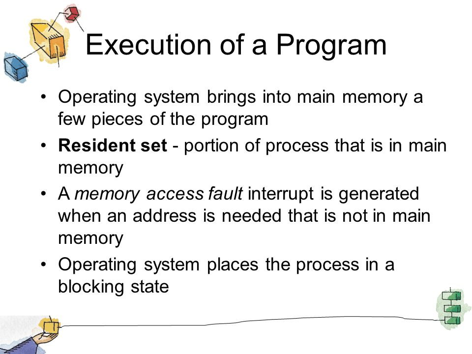 Execution of a Program Operating system brings into main memory a few pieces of the program.