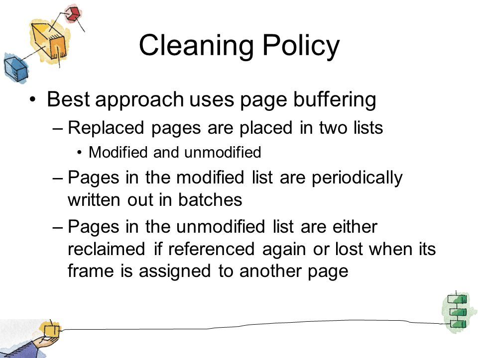 Cleaning Policy Best approach uses page buffering