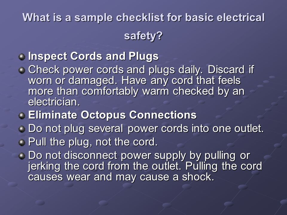 What is a sample checklist for basic electrical safety