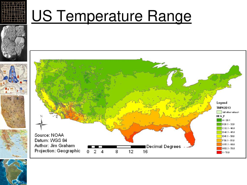 US Temperature Range This is a shapefile of polygons