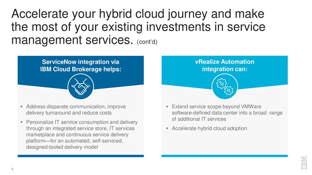 ServiceNow and vRealize integrations for IBM Cloud Brokerage