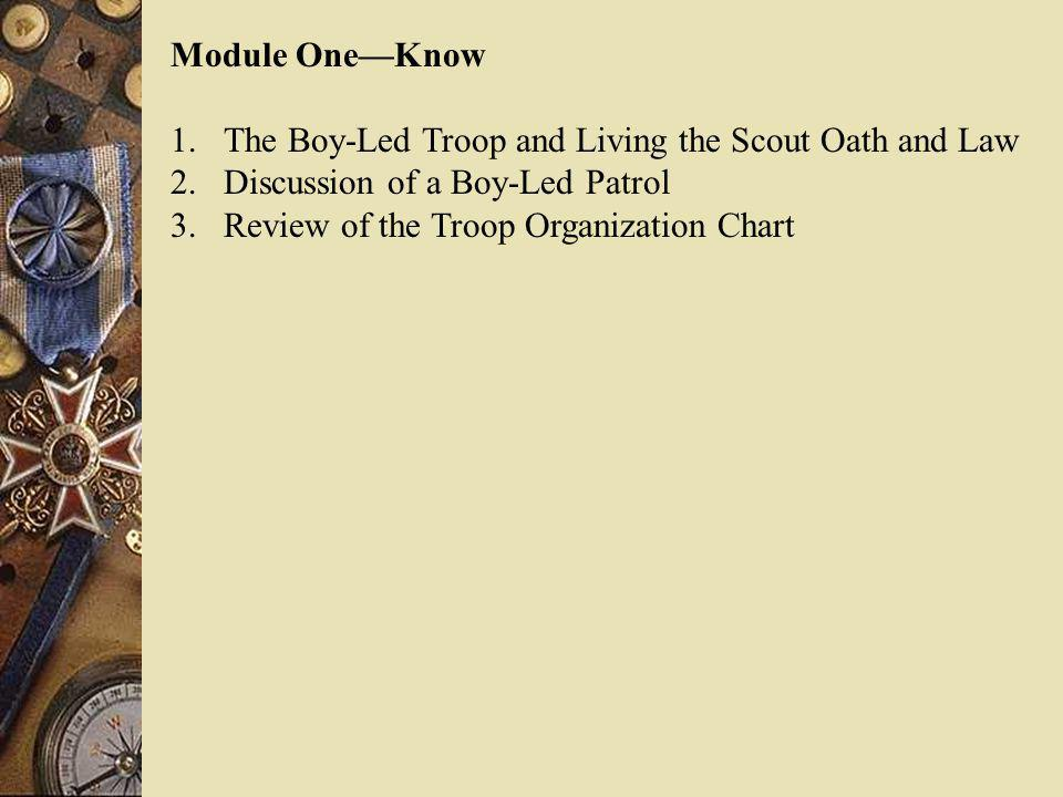 Module One—Know The Boy-Led Troop and Living the Scout Oath and Law. Discussion of a Boy-Led Patrol.