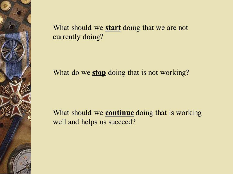 What should we start doing that we are not currently doing
