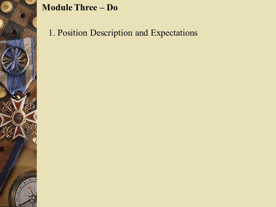 Module Three – Do 1. Position Description and Expectations