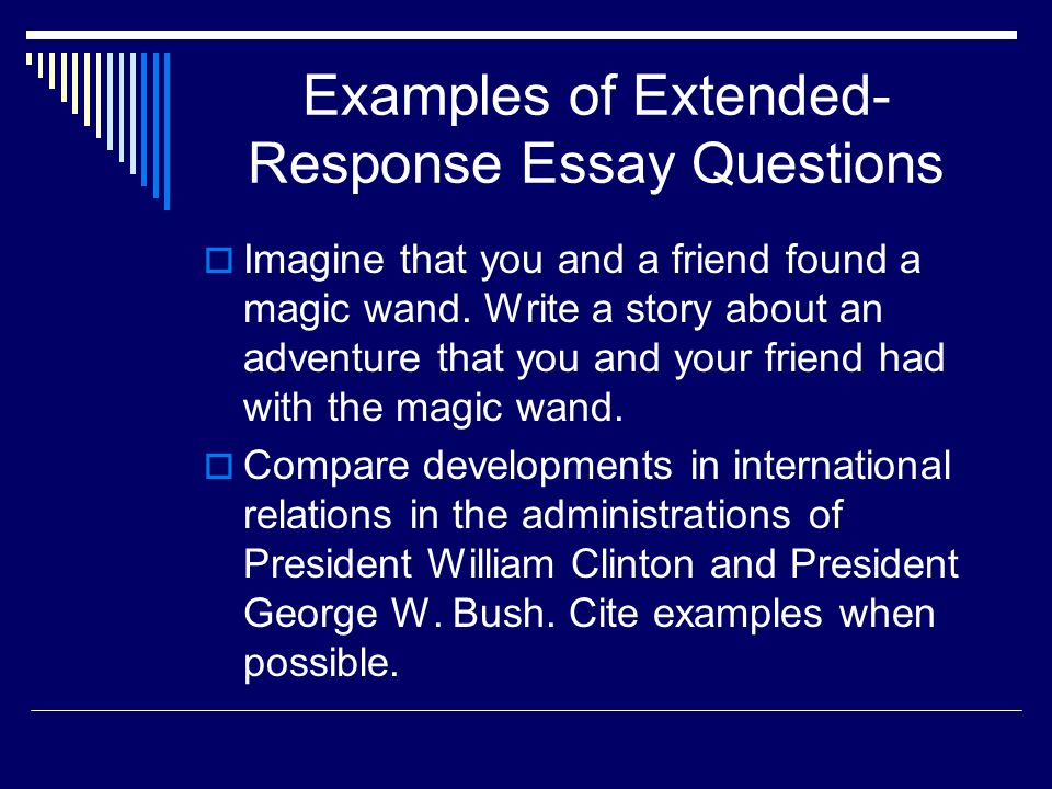 High School Reflective Essay Examples Examples Of Extendedresponse Essay Questions Healthy Food Essay also Good Persuasive Essay Topics For High School Measuring Complex Achievement Essay Questions  Ppt Video Online  Example Of Thesis Statement In An Essay