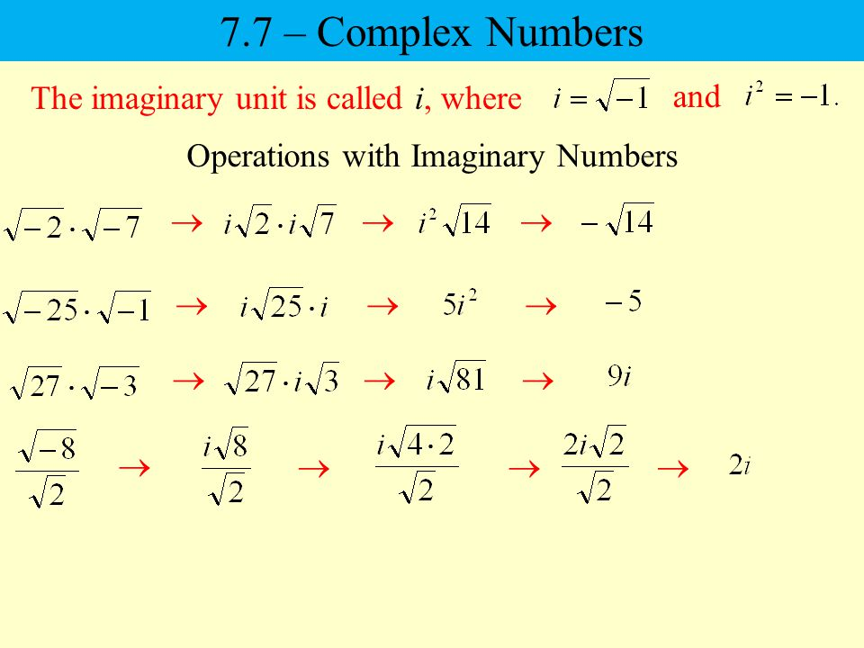 Operations with Imaginary Numbers