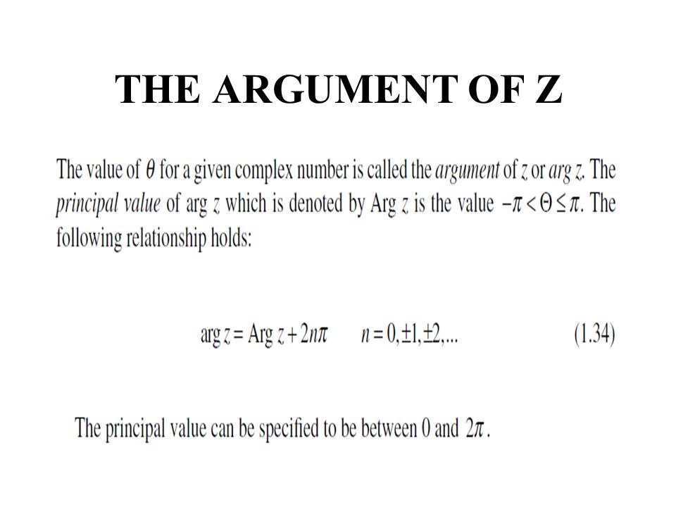 THE ARGUMENT OF Z