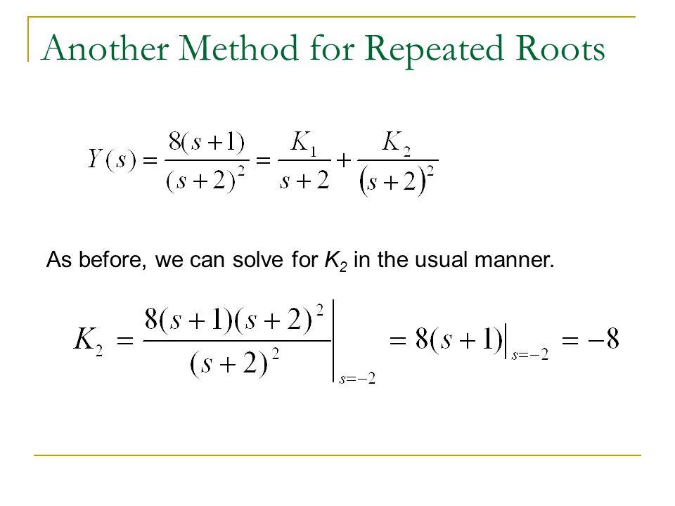 Another Method for Repeated Roots