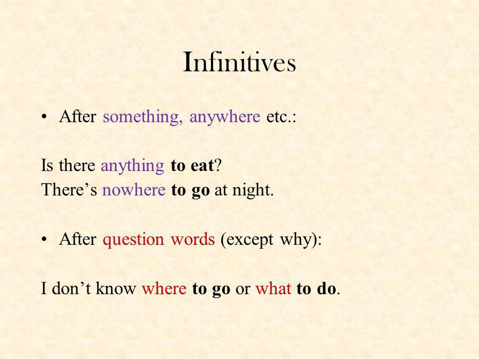 Infinitives After something, anywhere etc.: Is there anything to eat
