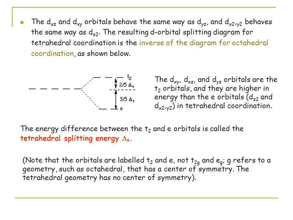 Lecture 10 Further Consequences Of D Orbital Splitting Ppt Video