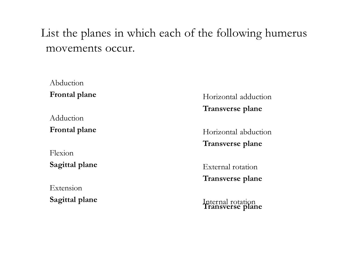 List the planes in which each of the following humerus movements occur.