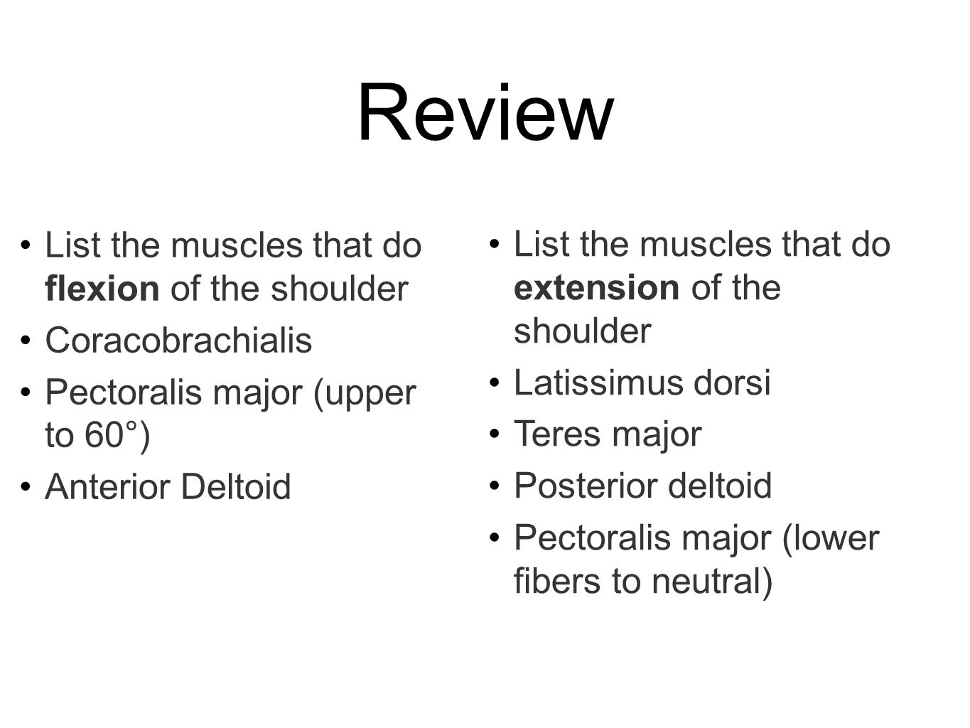 Review List the muscles that do flexion of the shoulder