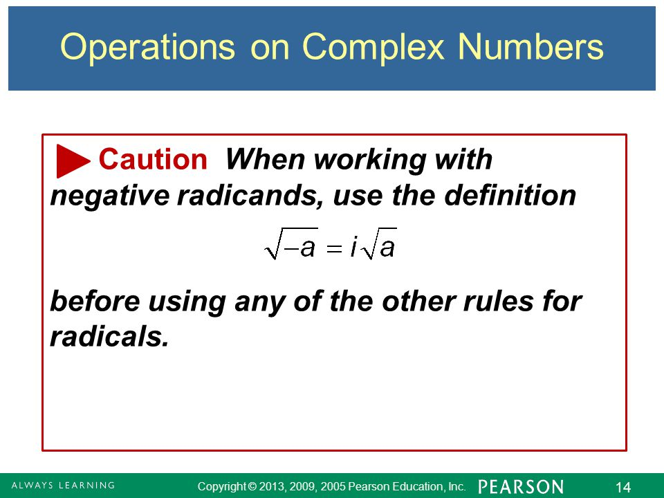 Operations on Complex Numbers